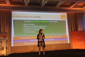Manuela Pirovano descrive gli obiettivi di BASF nel corso dell'evento di Roma.